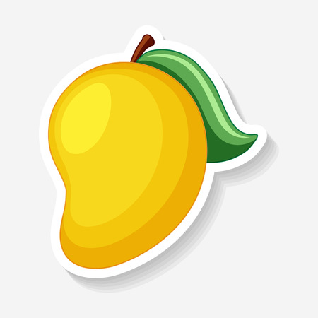 Sticker template for yellow mango illustration
