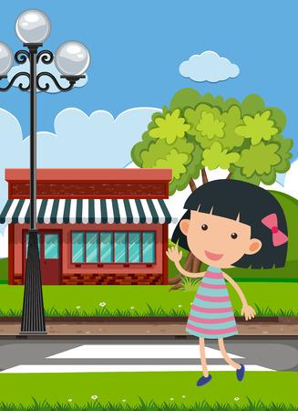 Background scene with cute girl on the road illustration Vektoros illusztráció
