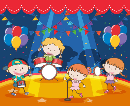 Children playing music in the band on stage illustration Illustration