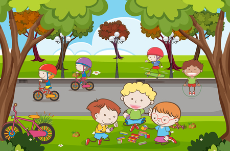 Many children playing in the park illustration