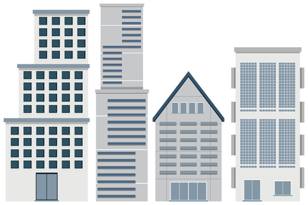 Four designs of buildings illustration