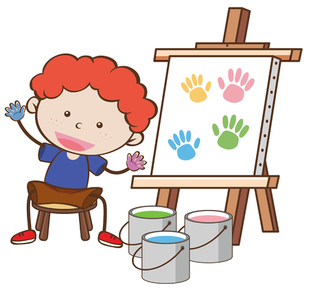 A Boy with Paining Board illustration
