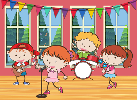 Four kids playing music in the band illustration Illustration