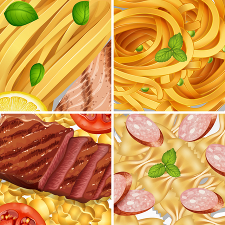 Four Diffrent Perfect Pasta Meal illustration