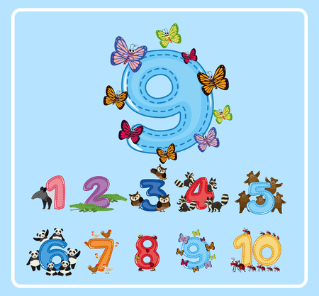 Flashcard design for number nine with butterflies illustration Çizim