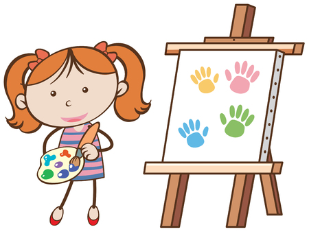 A Girl with a Painting Board illustration