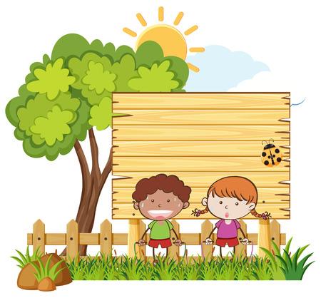 Kids Jumping Rope in Garden illustration