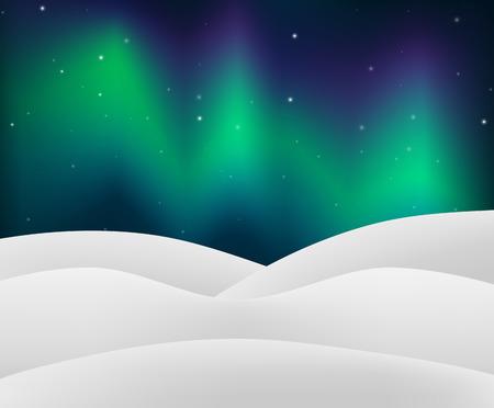 Northern Light with Snowy Scene illustration
