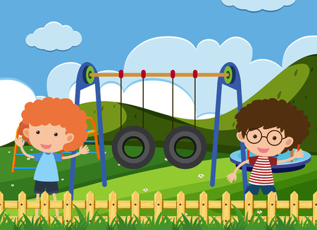 Kids Playing in Garden Playground illustration
