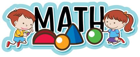 Niños jugando con la ilustración de objetos de geometría