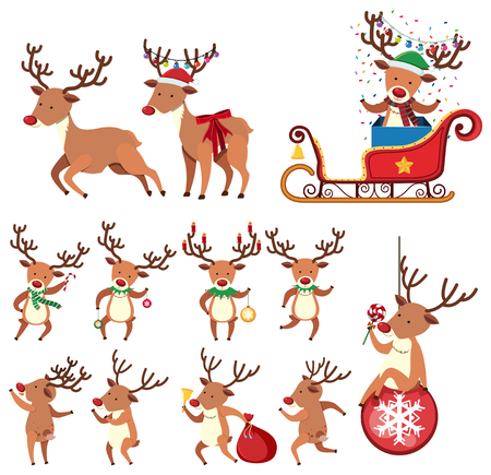 Reindeer in Different Action on White Background illustration