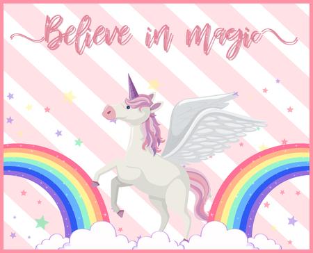A Cute Unicorn with Rainbow illustration Illustration