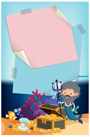 Merman Underwater with Blank Note Template illustration.