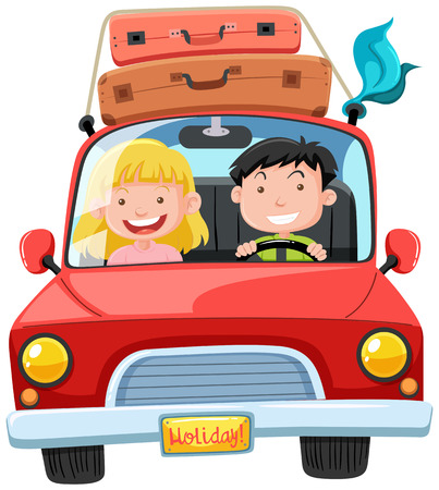 A Couple Road Trip on Holiday illustration. Illustration