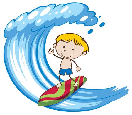 A Boy Surfing on Big Wave illustration.