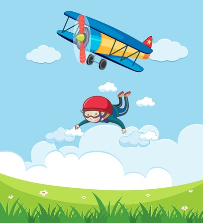 A Boy Skydiving in Sky illustration.