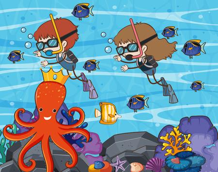 Scuba Diving in Underwater World illustration.