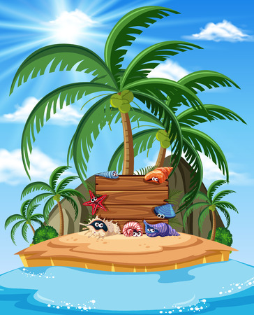 An Island with Shellfish Banner illustration