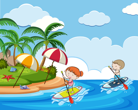 Doodle Kids on Holiday with Stand Up Paddle Board illustration.