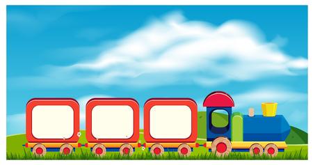 Un tren de juguete en la ilustración de fondo de la naturaleza Ilustración de vector