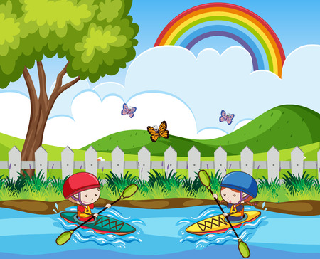 Doodle kids Canoeing in the River illustration