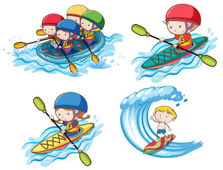 Kids Doing Water Sport on White Background illustration