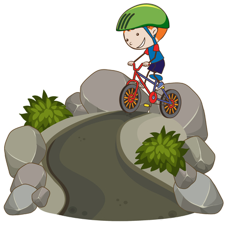 Young Boy Riding Mountain Bike illustration 向量圖像