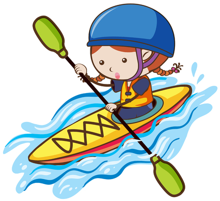 A Girl Kayaking in River illustration.