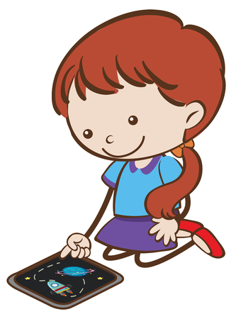 Doodle Kid Playing Tablet on White Background illustration.