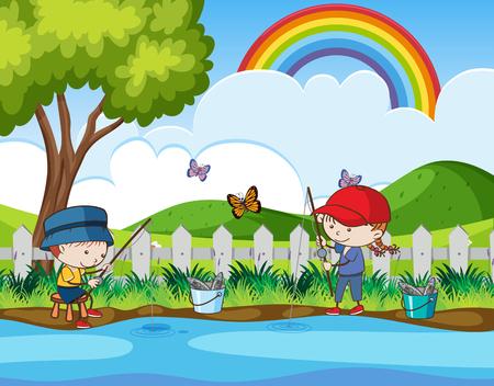 Doodle Kids Fishing in the River illustration. Ilustrace