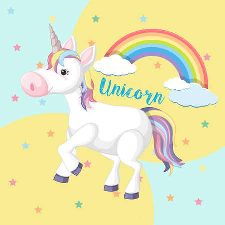 A Colorful Unicorn on Cute Background illustration.