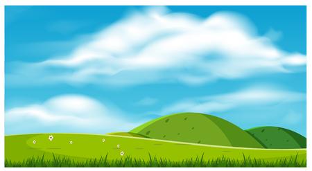 Un hermoso paisaje con ilustración de colinas. Ilustración de vector
