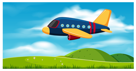 Airplane Flying over Hills illustration.