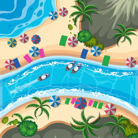 A Tropical Island from Top View illustration.  イラスト・ベクター素材
