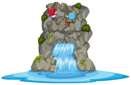 Kids Rock Climbing Over the Waterfall illustration. Illustration