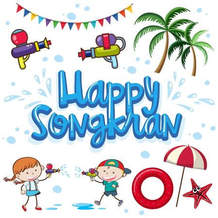 Happy Songkran Holiday Summer Festival illustration. Stock Vector - 100510288