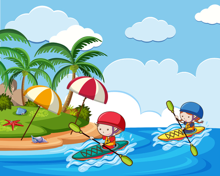 Kayaking Holiday at the Beach illustration.
