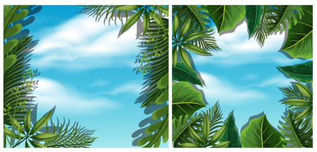 Looking at sky from bottom view in forest illustration.