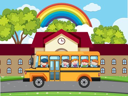 School bus parked in front of a building with children Ilustração