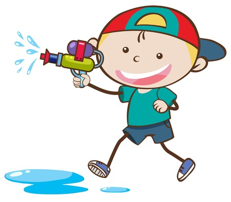 Boy playing with a water gun illustration Standard-Bild - 100418674