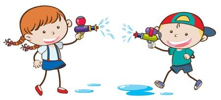 Children playing with water guns illustration Standard-Bild - 100418672