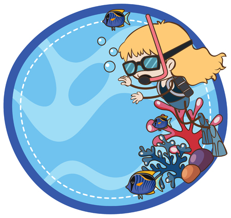 A girl scuba diving illustration