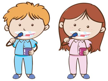 Boy and girl brushing teeth illustration