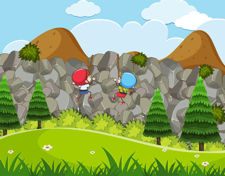 Kids Enjoy Rock Activity illustration