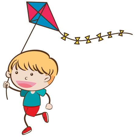 Illustration of a boy with a kite on a white background Иллюстрация