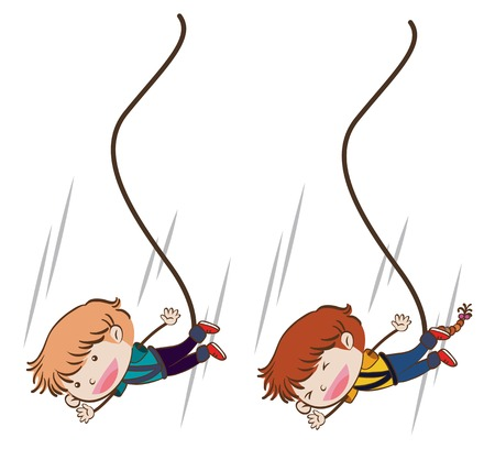 Boys Bungee Jumping on White Background illustration