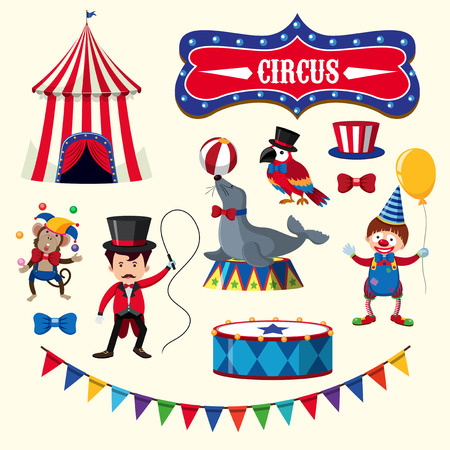 Circus Performance With Animals Element illustration