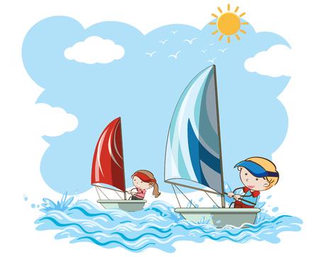 Sailboat Competition on White Background illustration Vettoriali
