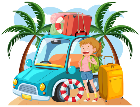 A Young Girl Travel to the Beach illustration