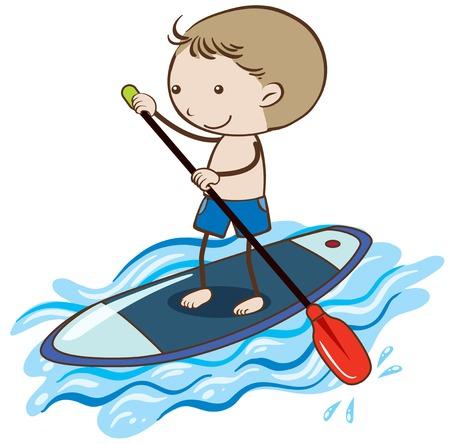 A Boy Stand Up Paddle Board illustration Illustration